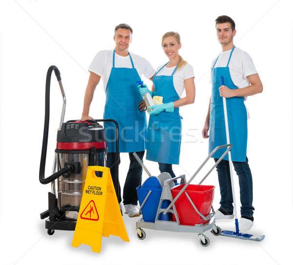 Czyszczenia sprzęt grupy biały szczęśliwy pracy Zdjęcia stock © AndreyPopov