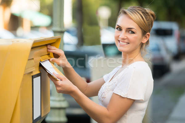 Сток-фото: женщину · письме · почтовый · ящик · счастливым · женщины