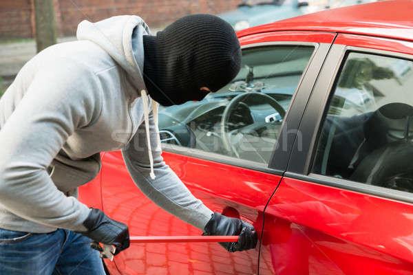 Tolvaj maszk nyitva autók ajtó autó Stock fotó © AndreyPopov