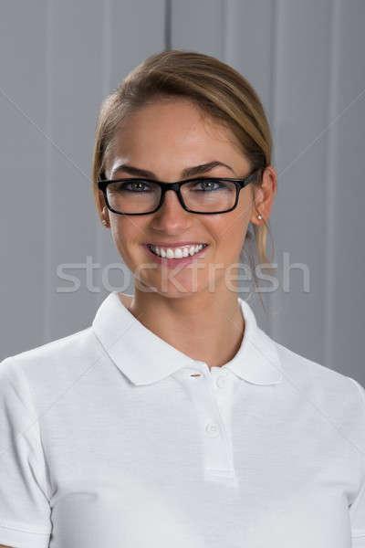 Feliz mujer gafas retrato hermosa Foto stock © AndreyPopov