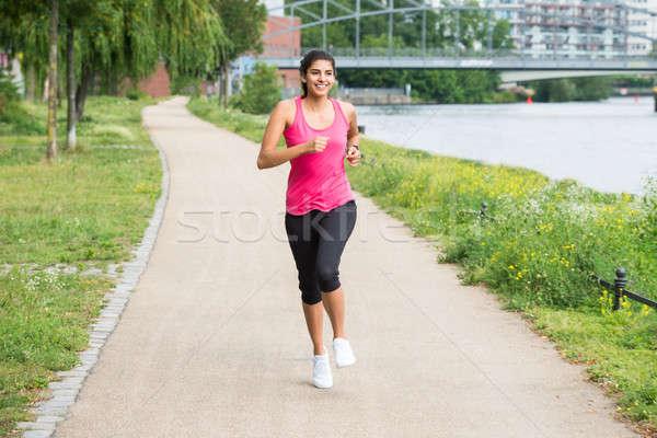 ストックフォト: アスレチック · 若い女性 · ジョギング · 健康 · 小さな · 女性
