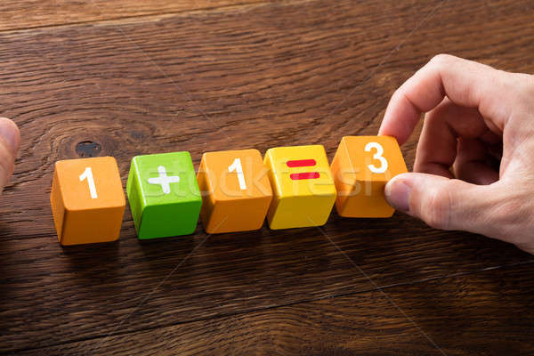 Mathematical Equation On Block Stock photo © AndreyPopov