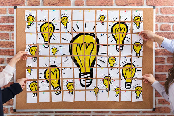 Light Bulbs Drawn On Paper Notes Stock photo © AndreyPopov