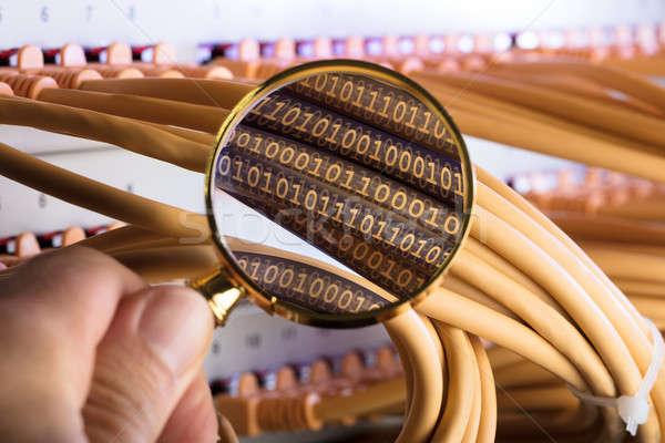 Mão binário rede cabos imagem Foto stock © AndreyPopov