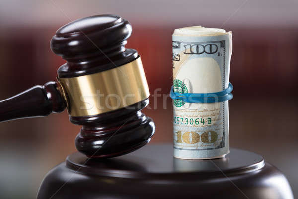 Close-up Of Gavel And Banknote Stock photo © AndreyPopov