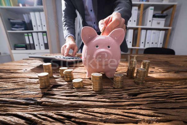 ビジネスパーソン コイン 木製 デスク ストックフォト © AndreyPopov