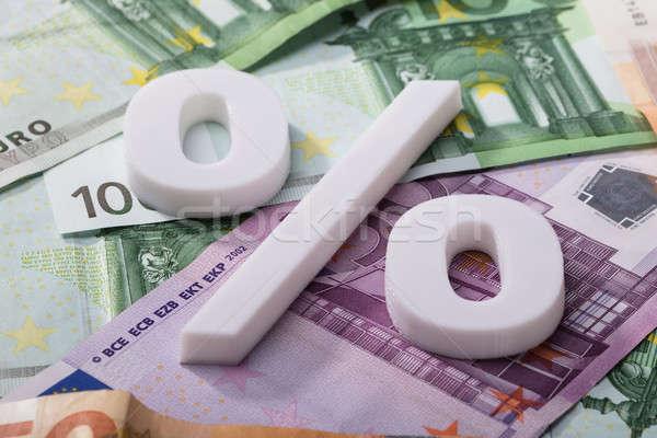 Percentage teken euro bankbiljetten witte Stockfoto © AndreyPopov