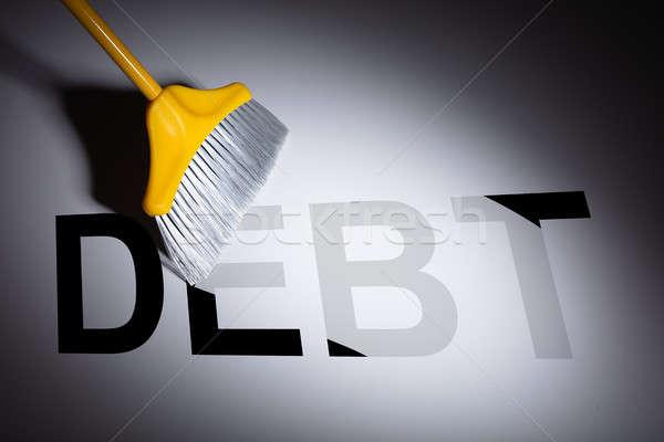ほうき 借金 言葉 グレー 背景 テクスチャ ストックフォト © AndreyPopov