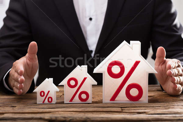 Businessperson protecting increasing house models Stock photo © AndreyPopov