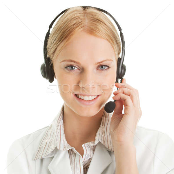 Cheerfull call center operator Stock photo © AndreyPopov