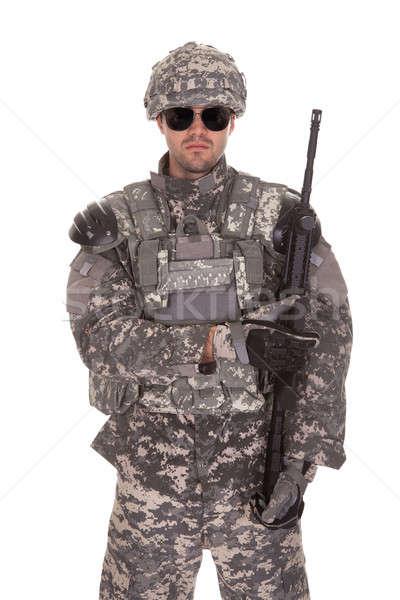 портрет солдата винтовка изолированный белый Сток-фото © AndreyPopov