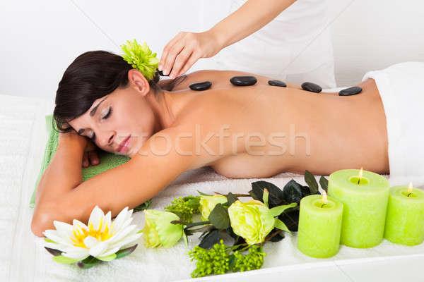 Woman Receiving Lastone Massage Stock photo © AndreyPopov