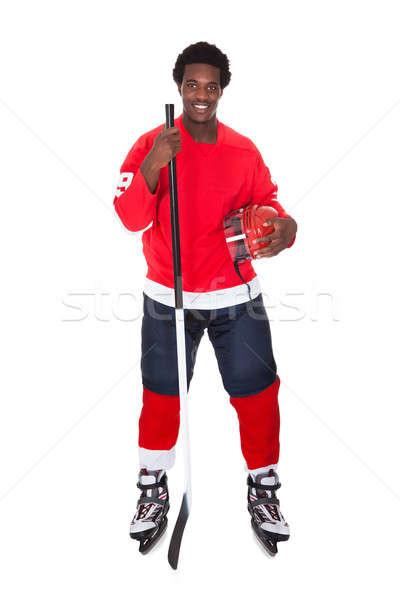 Retrato hockey sobre hielo jugador África aislado blanco Foto stock © AndreyPopov
