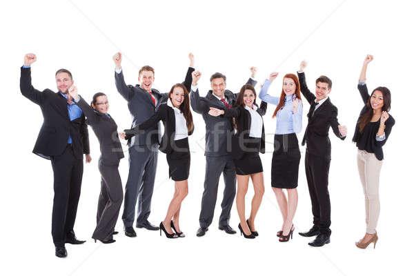 Nagyobb csoport izgatott üzletemberek emberek éljenez izolált Stock fotó © AndreyPopov