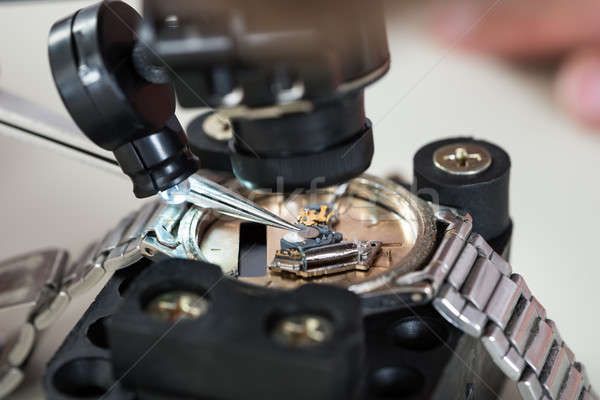 Loupe And Tweezers With Wristwatch Stock photo © AndreyPopov