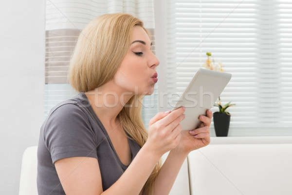 Woman Taking Selfie With Digital Tablet Stock photo © AndreyPopov