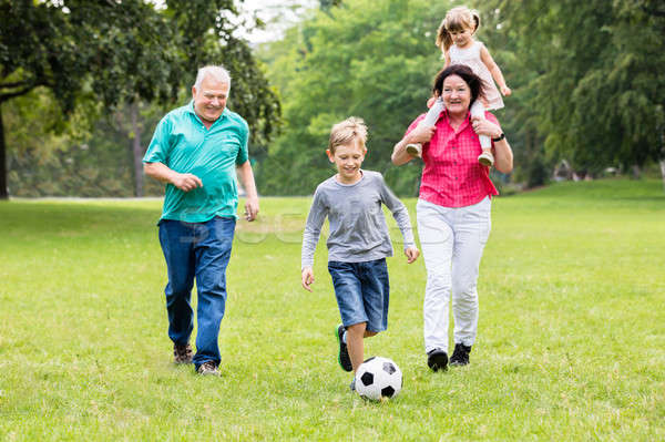Grandparent And Grandchildren Playing Soccer Ball Together Stock photo © AndreyPopov