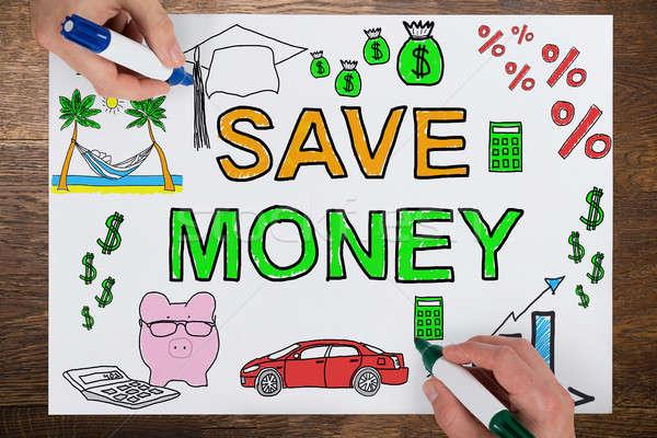 üzletemberek rajz megtakarítás papír közelkép kettő Stock fotó © AndreyPopov