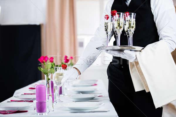 ストックフォト: ウェイター · 宴会 · 表 · シャンパン · レストラン