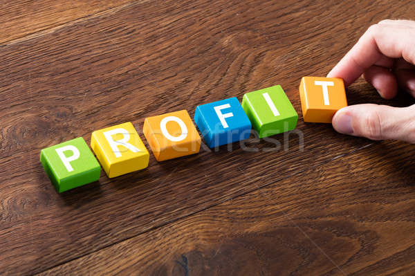 Profit Word On Block Concept Stock photo © AndreyPopov