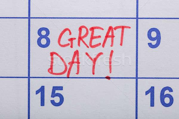 Stock fotó: Szöveg · nagyszerű · nap · írott · naptár · közelkép