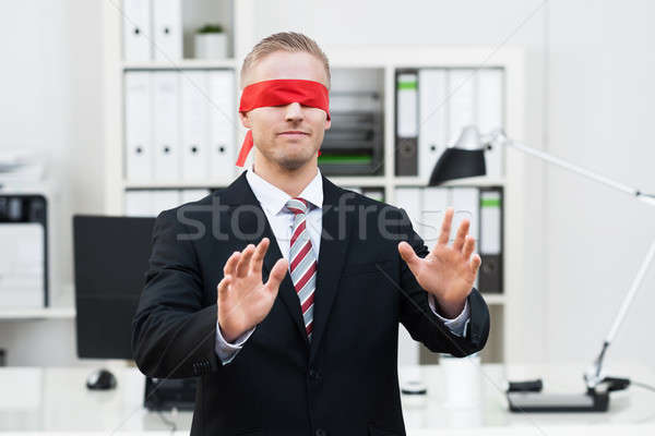 Blindfolded Young Businessman Stock photo © AndreyPopov