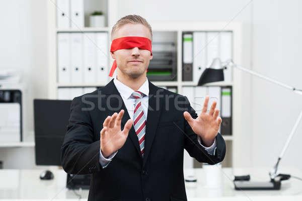 Bekötött szemű fiatal üzletember portré gesztikulál iroda Stock fotó © AndreyPopov