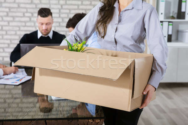 Unemployed Woman With Box Stock photo © AndreyPopov