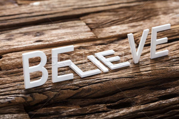 Believe Or Lie Words On Wood Stock photo © AndreyPopov