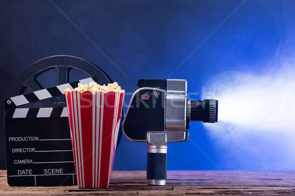 Movie Camera With Popcorn And Clapper Board Stock photo © AndreyPopov