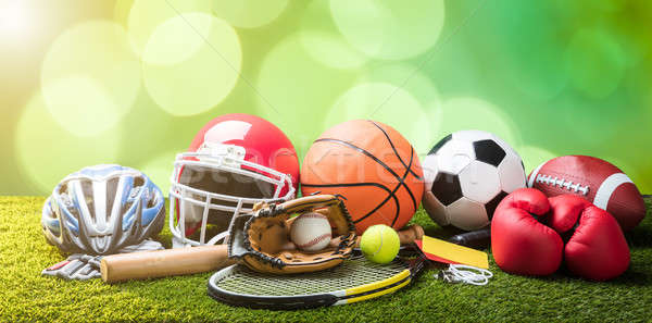 Close-up Of Various Sport Equipments On Pitch Stock photo © AndreyPopov