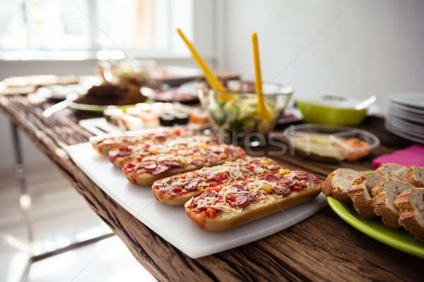 Vers voedsel houten tafel hout home brood Stockfoto © AndreyPopov