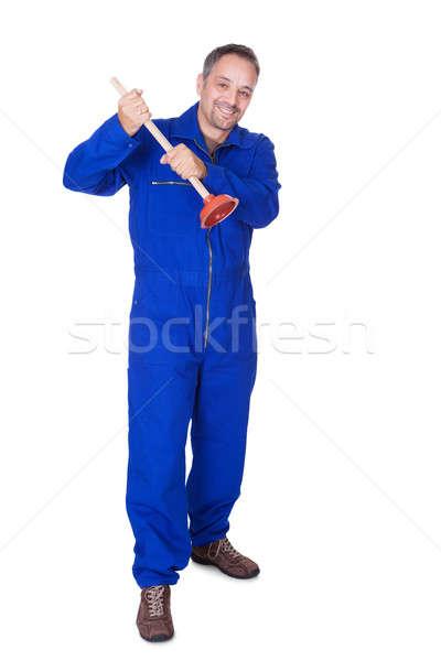Feliz encanador azul banheiro serviço Foto stock © AndreyPopov