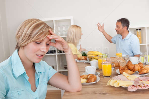Szülők veszekedik konyha fiatal tini lánygyermek Stock fotó © AndreyPopov