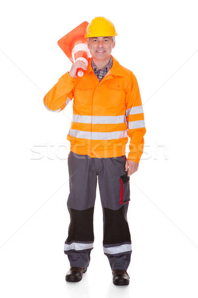 Man Showing Traffic Cone Stock photo © AndreyPopov