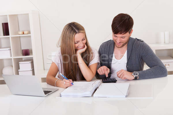 Couple working on expenses Stock photo © AndreyPopov