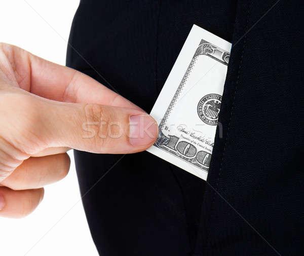 Hand bankbiljet zak witte Stockfoto © AndreyPopov