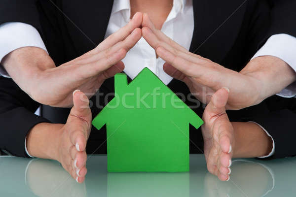 Business People Sheltering House Model In Office Stock photo © AndreyPopov