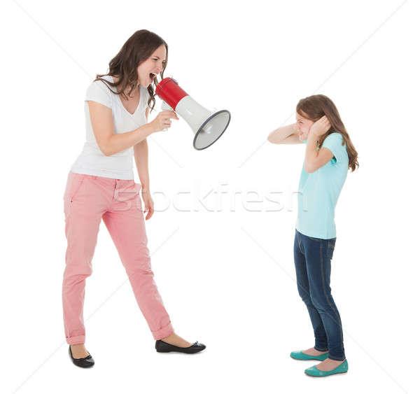 Zangado mãe megafone filha Foto stock © AndreyPopov