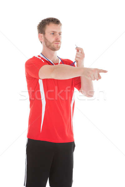 Referee Pointing While Holding Whistle Stock photo © AndreyPopov