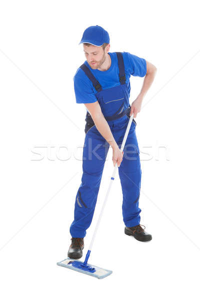 Mannelijke dienaar vloer witte Blauw Stockfoto © AndreyPopov