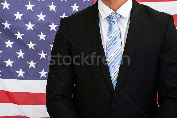 Amerikan işadamı amerikan bayrağı bayrak takım elbise Stok fotoğraf © AndreyPopov