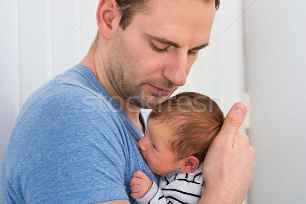 Stockfoto: Vader · baby · portret · pasgeboren · home