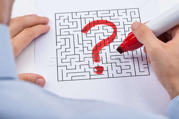 Person Hand With Question Mark On Maze Stock photo © AndreyPopov