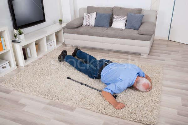 Eszméletlen mozgássérült férfi szőnyeg idős otthon Stock fotó © AndreyPopov