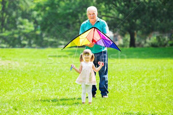 Kleindochter grootvader vliegen Kite park gelukkig Stockfoto © AndreyPopov