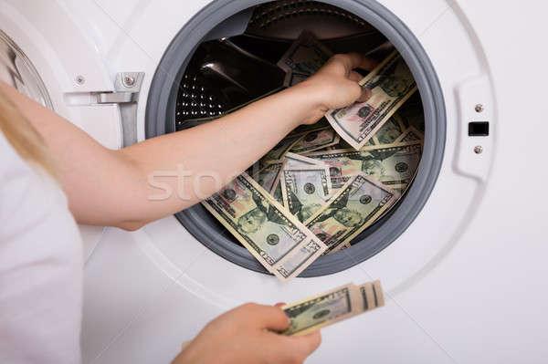 Kişi para çamaşır makinesi el kirli Stok fotoğraf © AndreyPopov