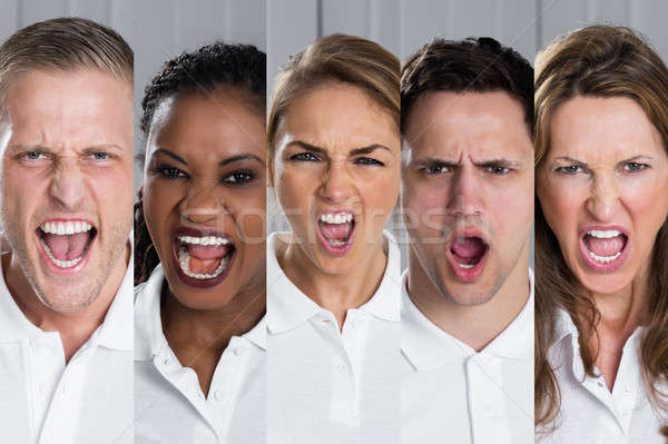 Collage Of Screaming People Stock photo © AndreyPopov