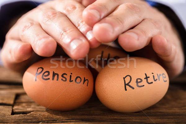 Pessoa ovo pensão aposentadoria texto Foto stock © AndreyPopov