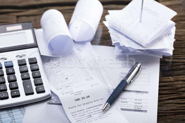 Számológép toll nyugta kilátás iroda fa Stock fotó © AndreyPopov